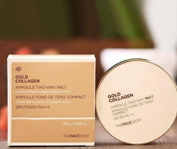 Phấn nước Gold Collagen của The Face Shop SPF42. Tặng mặt nạ trắng da Hàn Quốc giá 35k tốt nhất
