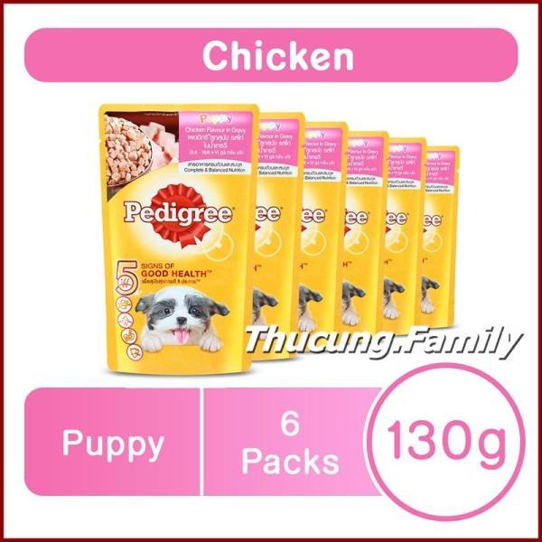 Combo 6 gói Sốt Gà Pedigree Chó con, giúp hệ thống tiêu hóa tốt. 130g/ gói