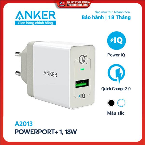 Sạc ANKER PowerPort+ 1 cổng Quick Charge 3.0 có PowerIQ 18W - A2013 - Hỗ trợ sạc nhanh cho các thiết bị Android, sạc tối ưu 12W cho iPhone, iPad, trang bị nhiều công nghệ an toàn để bảo vệ thiết bị và sạc