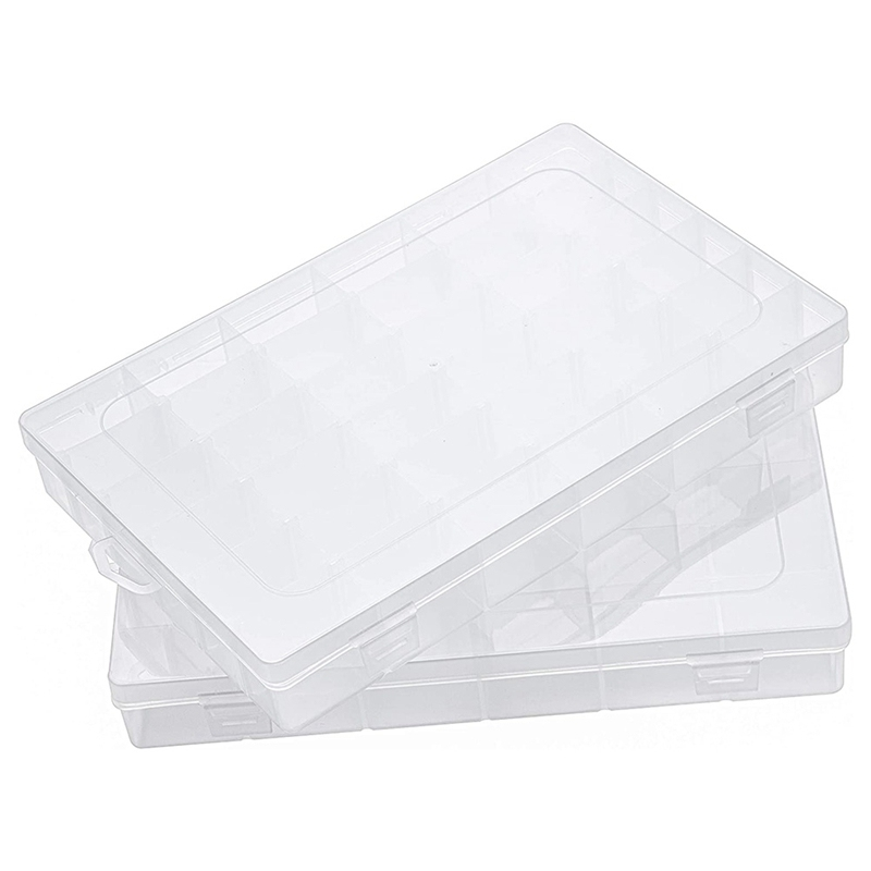 Earring Box Storage Box Jewelry Storage Box Transparent Plastic 36 Compartments with Lid and Adjustable Partition(2Pcs)