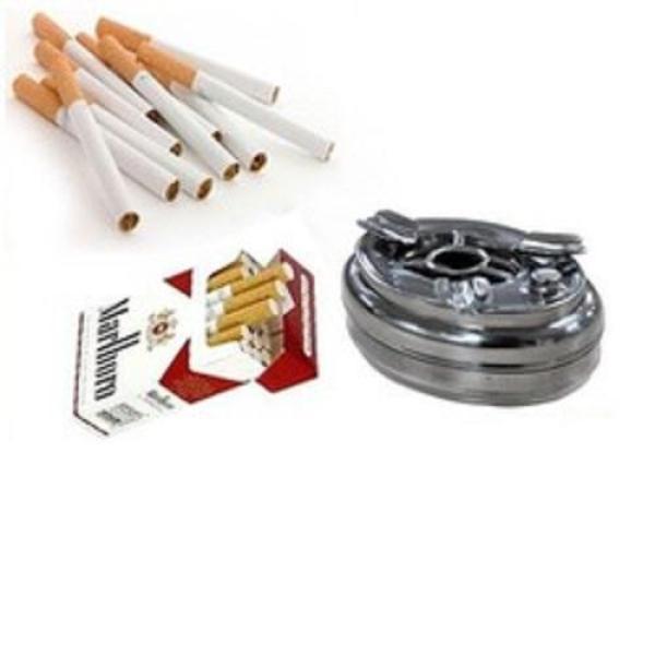 Gạt tàn thuốc nút bấm inox