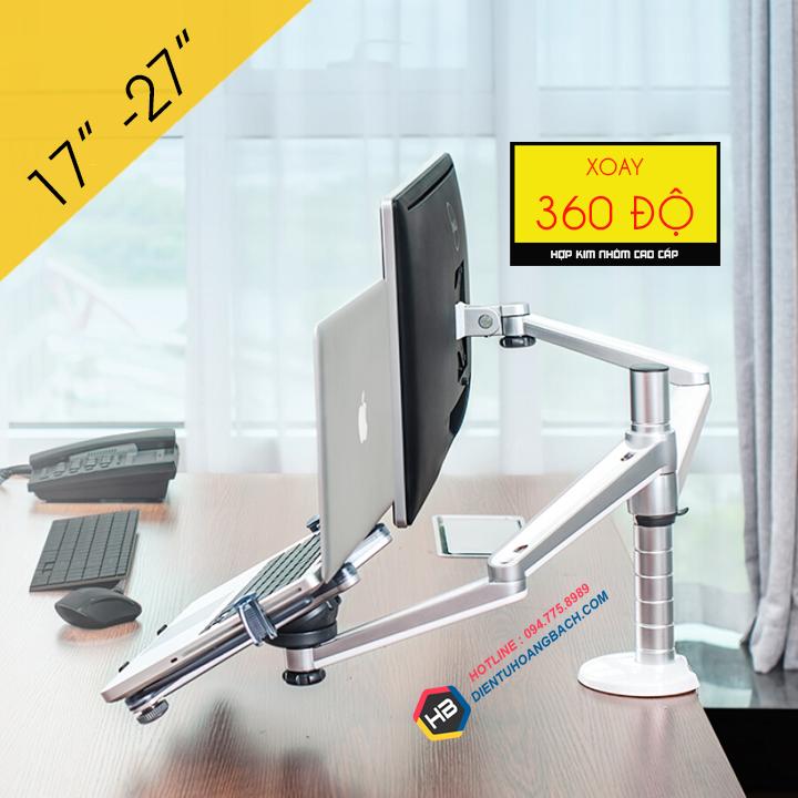 Giá Treo Màn Hình OA 7X 17 - 27 Inch - Kèm Tay Treo Đỡ Laptop Macbook 10 - 15 Inch - Gắn Bàn Đa Năng