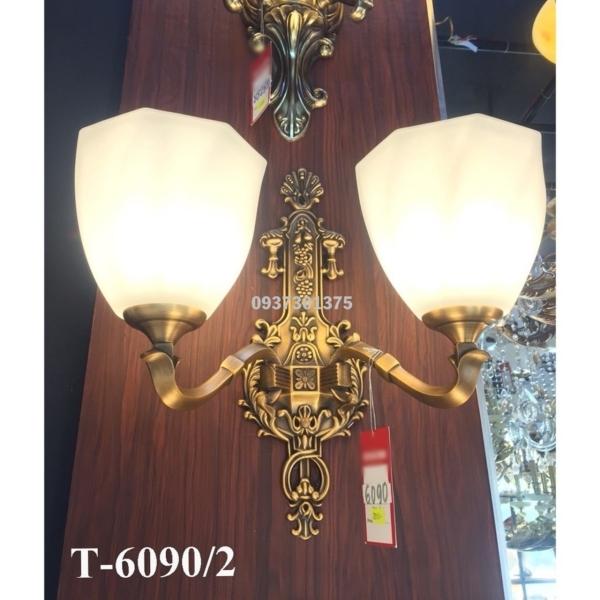 Bảng giá Đèn tường đồng đôi T6090 Chao Thủy Tinh 2 lớp,Tặng kèm bóng đèn led