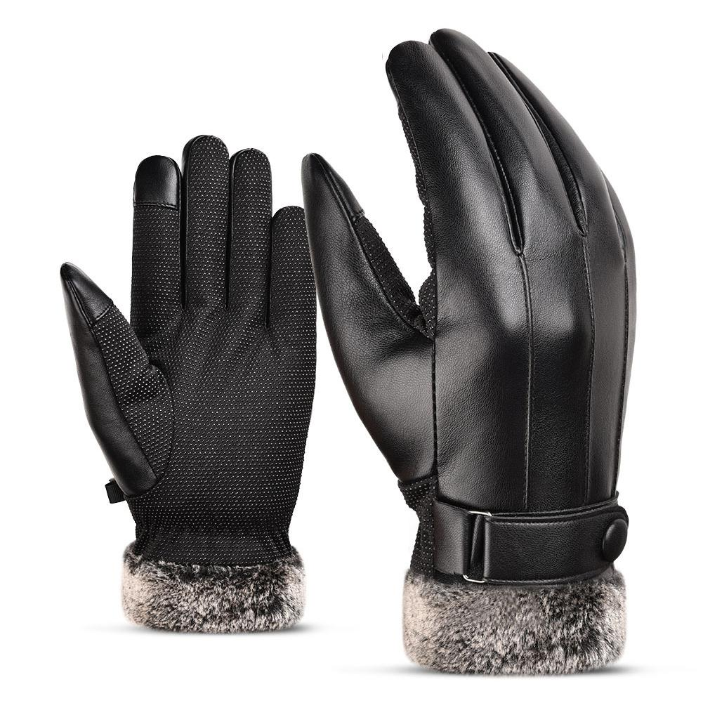 XU Men Fashion Winter Black PU Leather Gloves Touch Screen Warm Mittens Driving Gloves Specification:free size