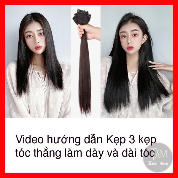 Sét 3 dải Kẹp Tóc Giả Kẹp thẳng cao cấp làm dày tóc, tự nhiên mềm đẹp nhập khẩu