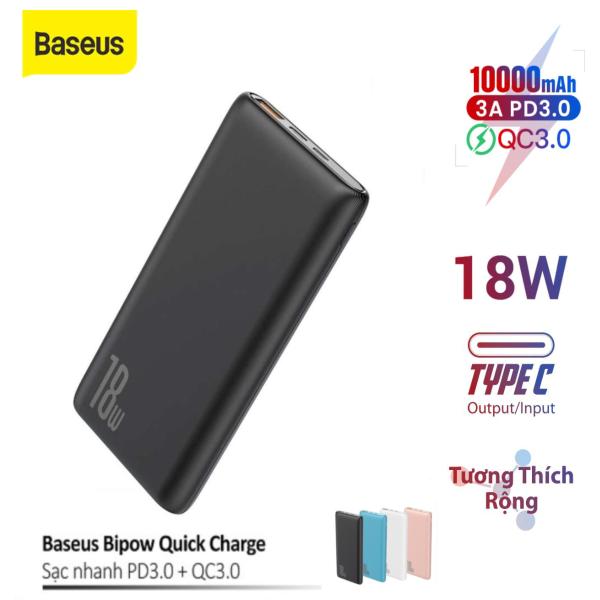 Pin dự phòng sạc nhanh Baseus Bipow 10000mAh tích hợp PD/QC công suất 18W 3 cổng sạc QC3.0+PD3.0