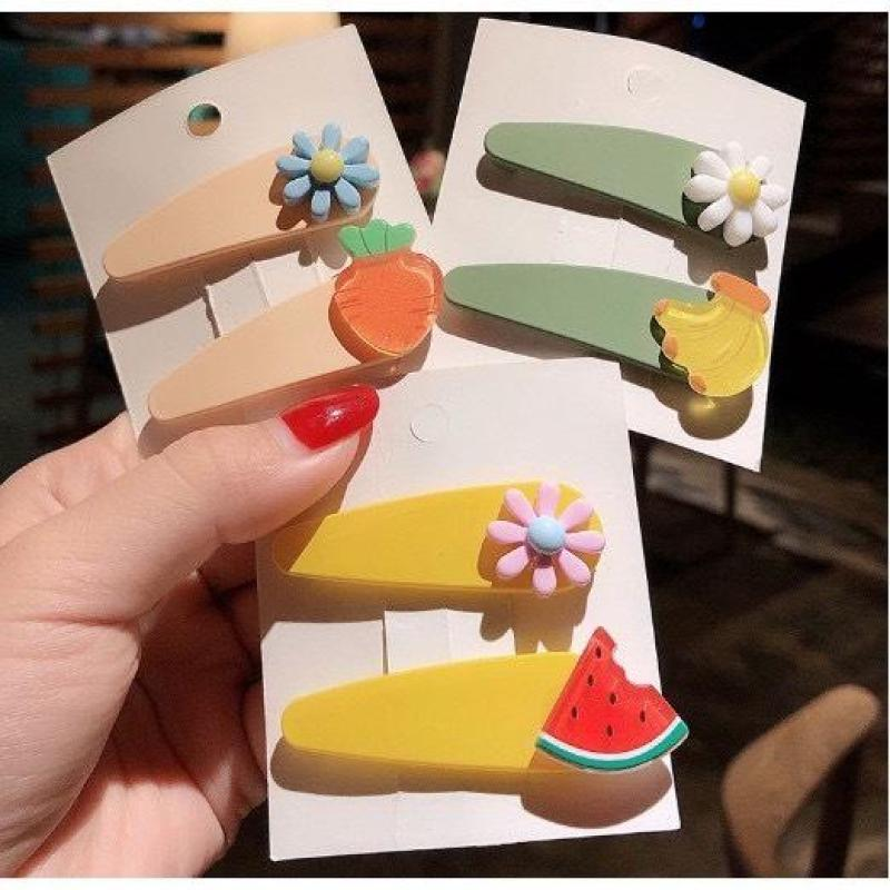[Bộ kẹp tóc hoa và quả] Kẹp tóc trái cây vỉ 2 cái hoa và quả, Kẹp tóc kiểu dáng hoa và trái kiểu dáng hàn quốc, màu sắc sặc sỡ cao cấp