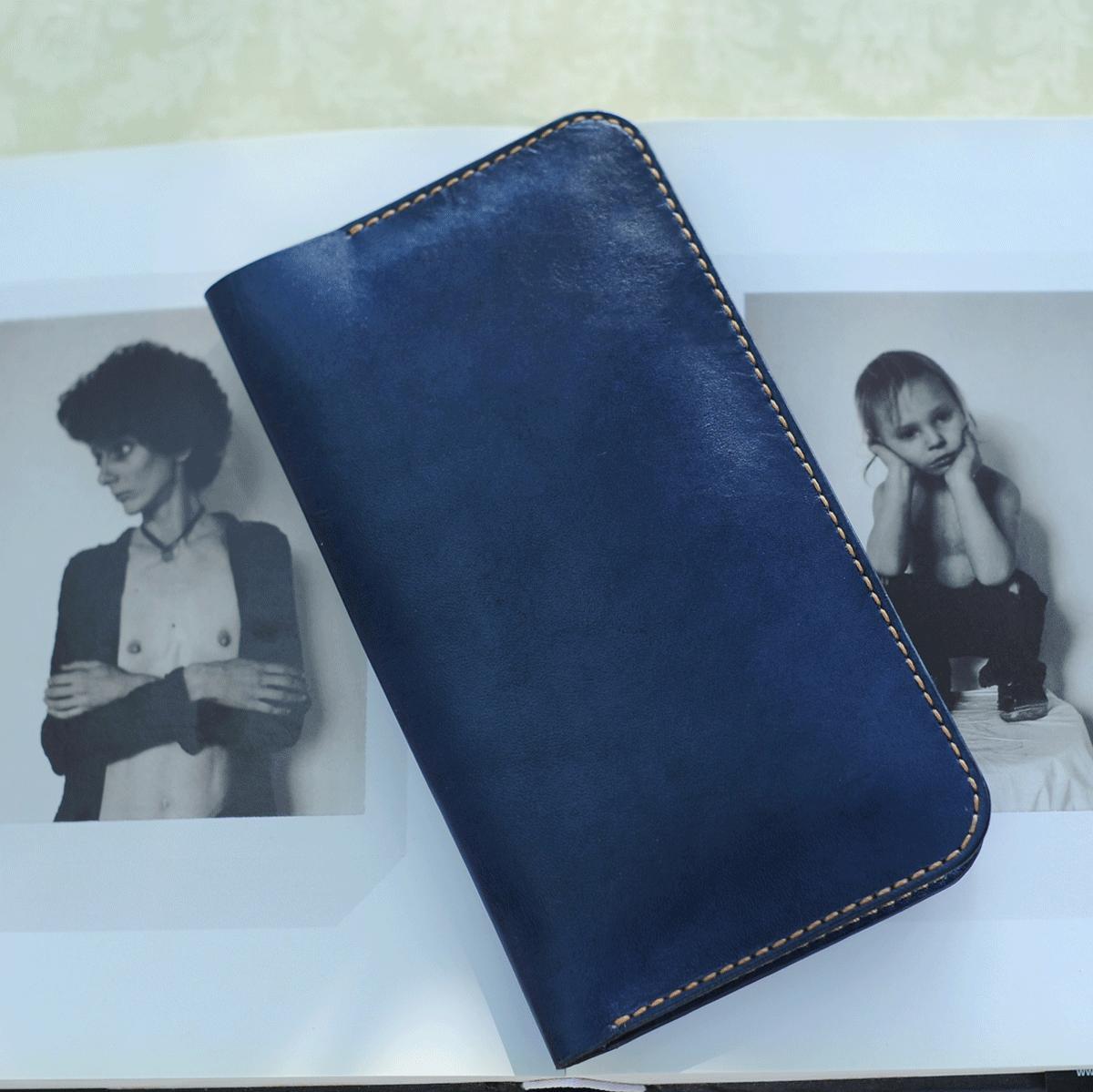 Ví dài cầm tay nữ màu xanh handmade - Da bò - Ví dài cầm tay nữ Mino Crafts VI215