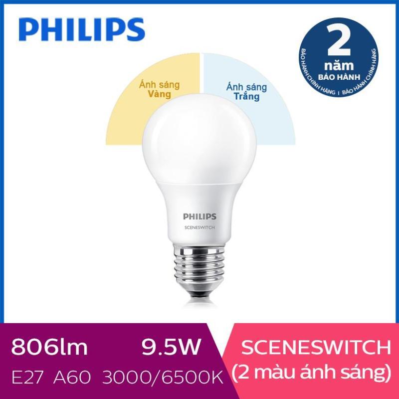 Bóng đèn Philips LED Scene Switch đổi màu ánh sáng 9.5W 3000K/6500K E27 (Trắng / Vàng)