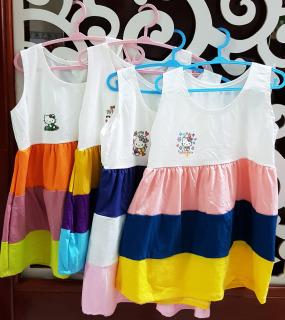Đầm thun cotton ba màu dễ thương cho bé gái - Đầm thun co giãn 4 chiều - Đầm bé gái chất thun cotton cực mát mẻ size 10-18kg thumbnail