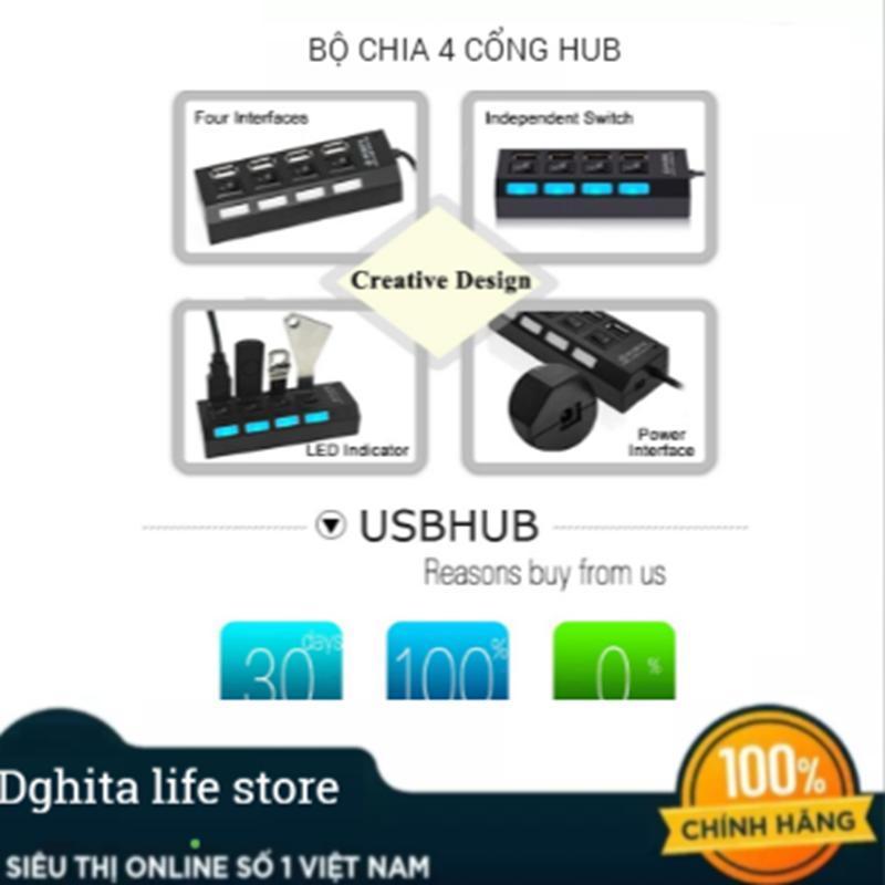 Bảng giá Bộ chia USB 4 cổng HUB tốc độ cao trung tâm 2.0USB chuyên dụng Phong Vũ