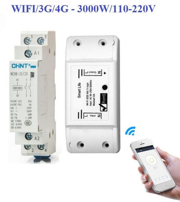 Bộ công tắc wifi/3G/4G Smart Life và khởi động từ CHINT 25A bật tắt máy bơm nước công suất lớn 3000W, công tắc điều khiển từ xa bằng điện thoại, công tắc hẹn giờ, ổ cắm điều khiển từ xa, ổ cắm hẹn giờ, khởi động từ, contact