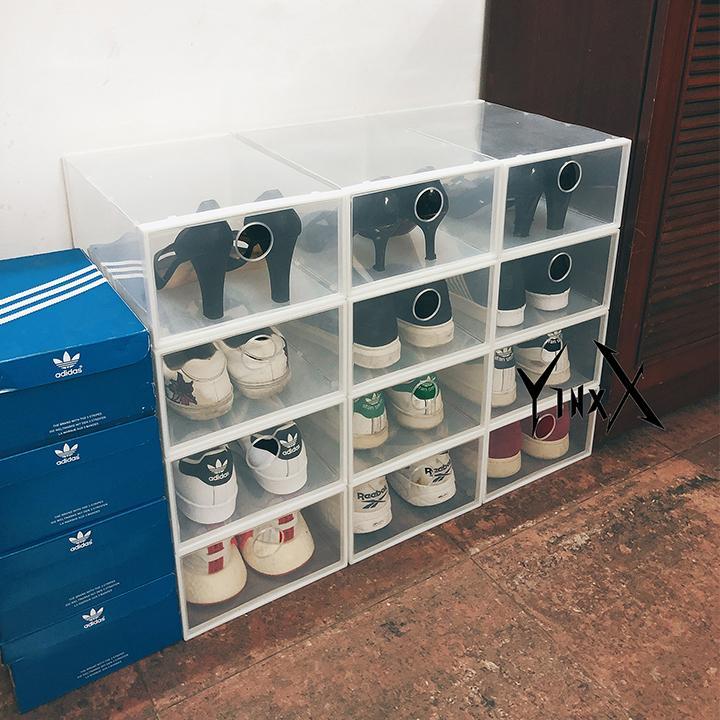 Hộp đựng giày nhựa cứng trong suốt [ảnh thật]