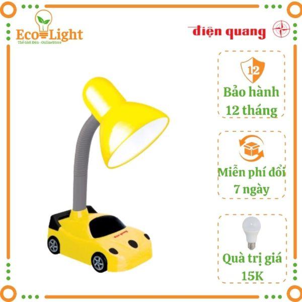 [BH 12 tháng + Quà 15K] Đèn bàn học Điện Quang Ecolight DKL05 bóng đèn led 4W ánh sáng vàng, bảo vệ mắt, chống cận thị kiểu xe hơi cho bé vừa học vừa chơi Tặng bóng 3W