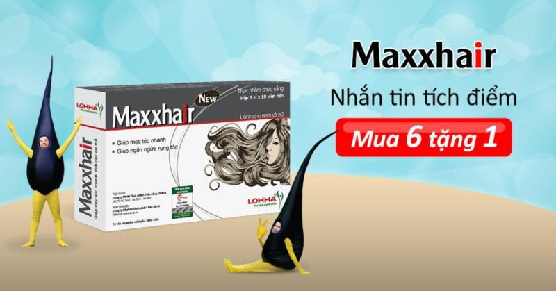 (6 TẶNG 1) Viên mọc tóc Maxxhair - Giúp tóc mọc nhanh, chắc khỏe, suôn mượt, ngừa rụng tóc, hói đầu - Maxhair