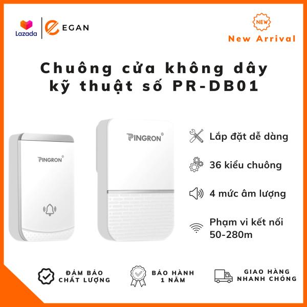 [CHẤT LƯỢNG CAO] Chuông cửa không dây kỹ thuật số PR-DB01 - Lắp đặt dễ dàng, kích thước nhỏ gọn, sử dụng nguồn điện AC110-220V, 50/60Hz, tùy chỉnh được 36 kiểu chuông