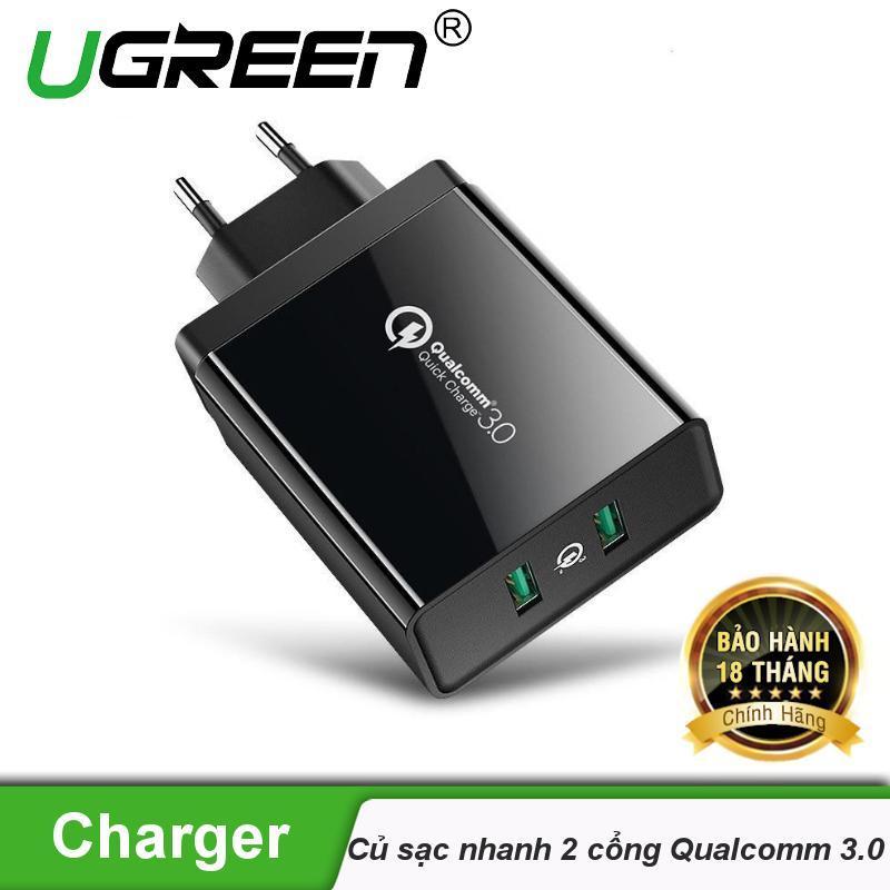 Củ sạc nhanh Quick Charge 3.0 Qualcomm hỗ trợ sạc iphone, iPad, Android, sạc dự phòng... UGREEN 40585