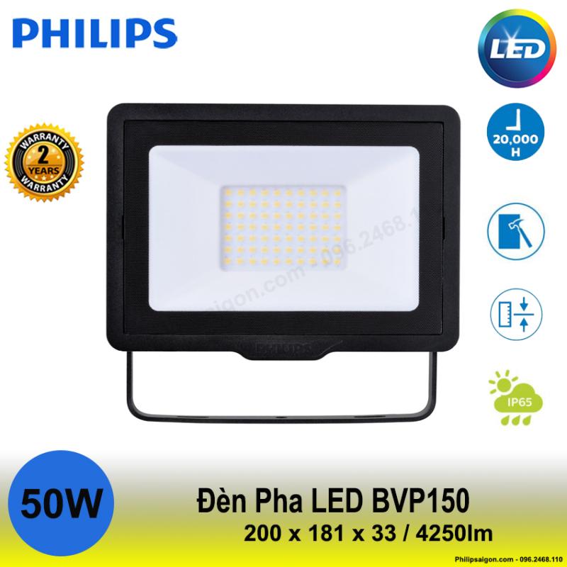 Đèn pha Philips Led BVP 150 50W ánh sáng Trắng / vàng / hoặc trung tính, Độ kín IP65, Vỏ nhôm đúc chắc chắn, mỏng gọn Driver tích hợp - 24 tháng bảo hành - PhilipSaigon
