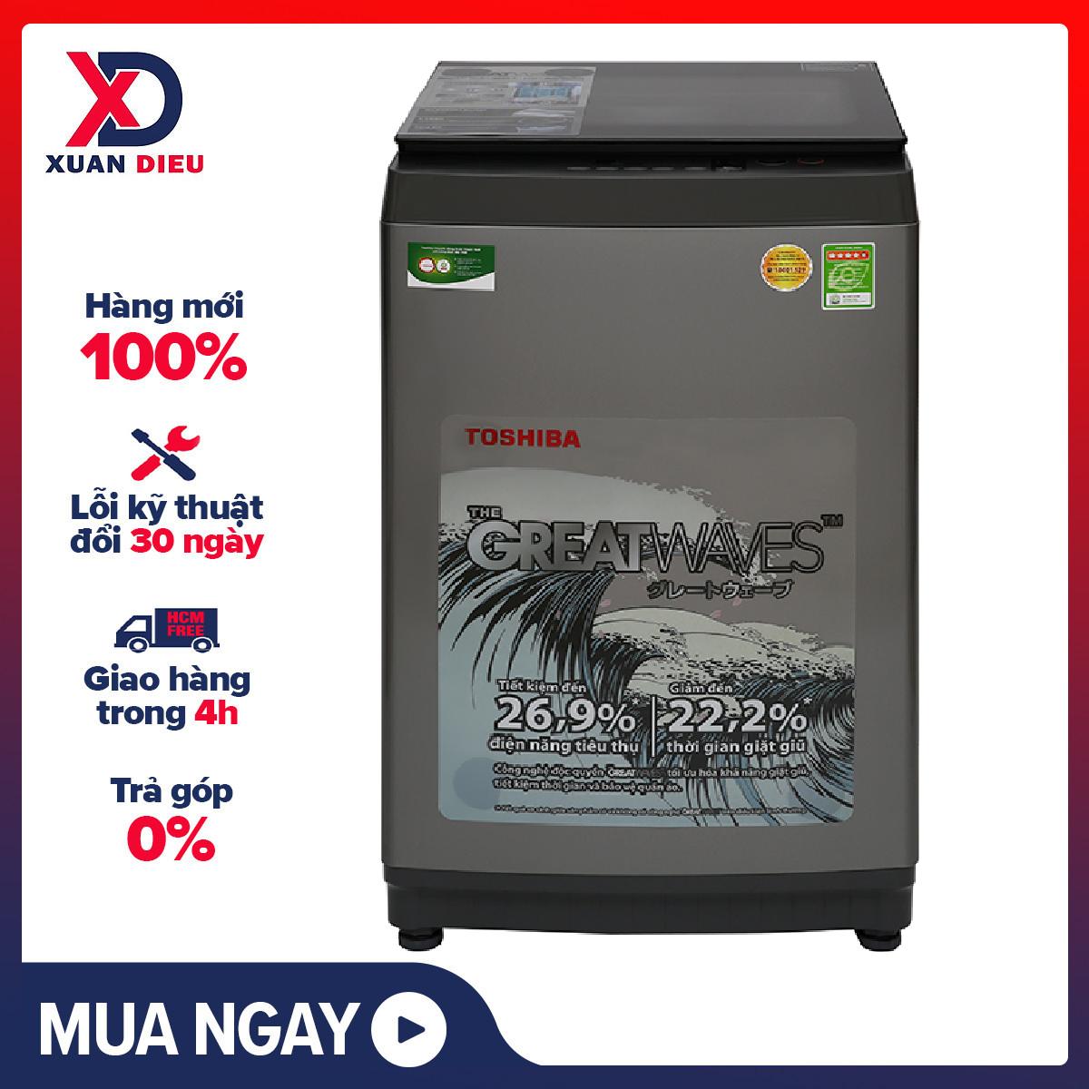[Trả góp 0%]Máy giặt Toshiba 9 kg AW-K1005FV(SG) Hệ thống 3 thác nước Greatwaves kết hợp 3 luồng nước Lồng giặt ngôi sao pha lê Tiện ích: Nắp máy trợ lực chống kẹt tay Hẹn giờ bắt đầu giặt Khử mùi kháng khuẩn