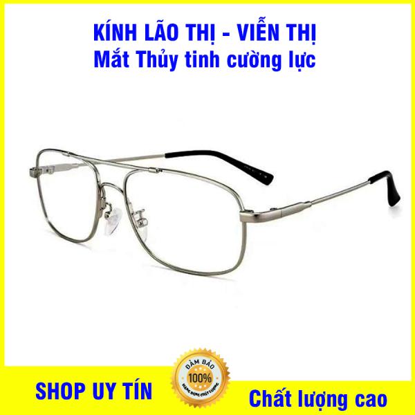 Giá bán Kính lão thị viễn thị trung niên mắt kính THỦY TINH cường lực ĐỔI MÀU Siêu DẺO TITANIUM cao cấp mắt sẵn độ từ +1.00 đến +4.00 hàng cao cấp
