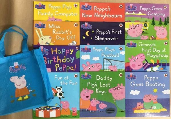 Peppa Pig 12 cuốn + Túi vải - Sách tiếng anh cho thiếu nhi