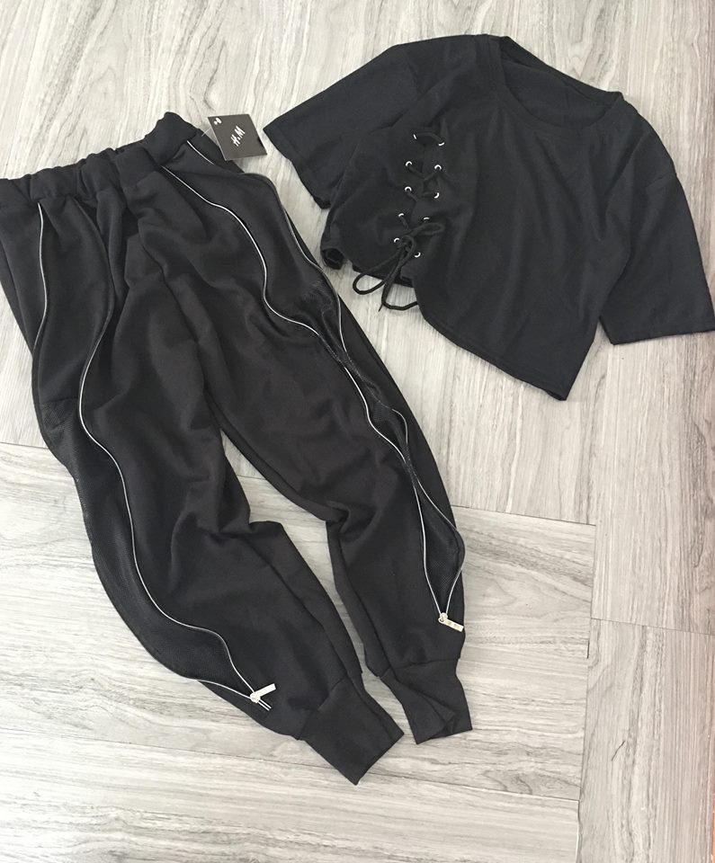 (Guu_house) Set croptop dây quần jogger lưới