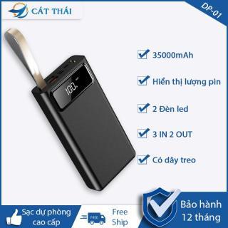 [HCM][FREE SHIP] Pin sạc dự phòng DP-01 dung lượng cực lớn 35000mAh sạc pin với tốc độ 2.1A 3 cổng vào Type-C Lightning Micro 2 cổng USB ra có dây treo mang theo cực kỳ tiện lợi Iphone và Androi thumbnail