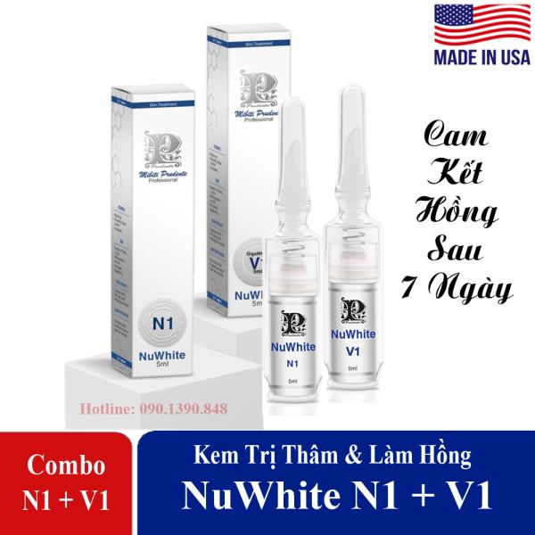 Combo Hồng Ti NuWhite N1 + Hồng Bikini Giga White V1 [Đầu Vát-Có Tem] - Cam Kết Hồng Tự Nhiên Chỉ Sau 7 Ngày Sử Dụng giá rẻ