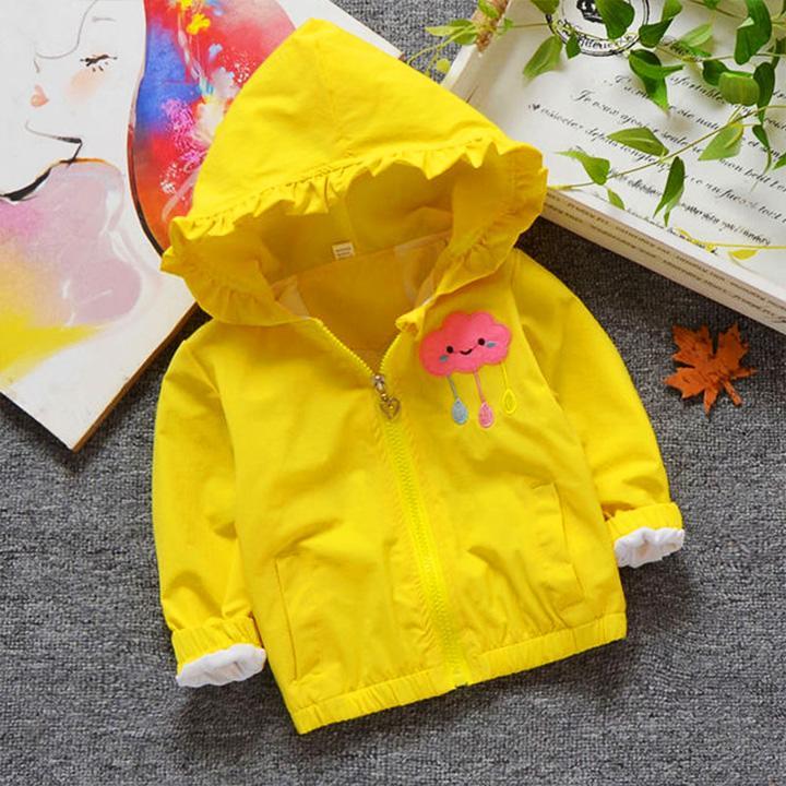 Áo khoác cho bé gái 3-8 tuổi họa tiết đáng yêu mũ trùm phối bèo – AK005