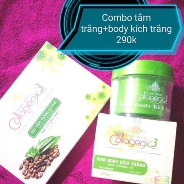 Combo tắm trắng cafe và kem body Collagen x3 nhập khẩu