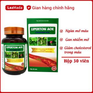 Viên uống LIPERTON AOE - Thành phần thảo dược tự nhiên - Giảm mỡ máu, gan nhiễm mỡ, giảm cholesterol trong máu, giảm béo hiệu quả - Hộp 30 viên chuẩn GMP Bộ Y tế thumbnail