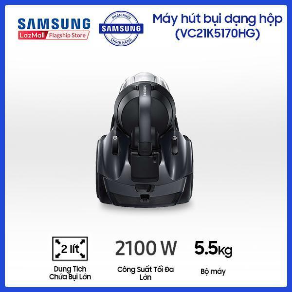 Máy hút bụi Samsung 2 lít VC21K5170HG/SV (đen) - Công suất lên đến 2100W - Dung tích chứa bụi 2L -Turbine Không Xoắn Tóc đảm bảo lực hút bền bỉ -  Hàng phân phối chính hãng.