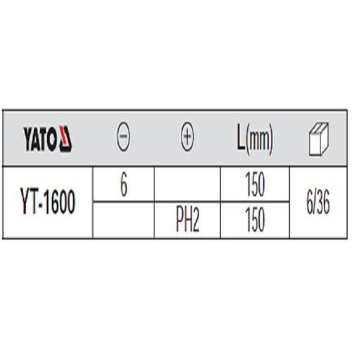 Bộ Tuốc-nơ-vít 2 cạnh và 4 cạnh đầu nam châm cán đập (-) 6x150 (+) PH2x150 YATO - Ba Lan YT-1600