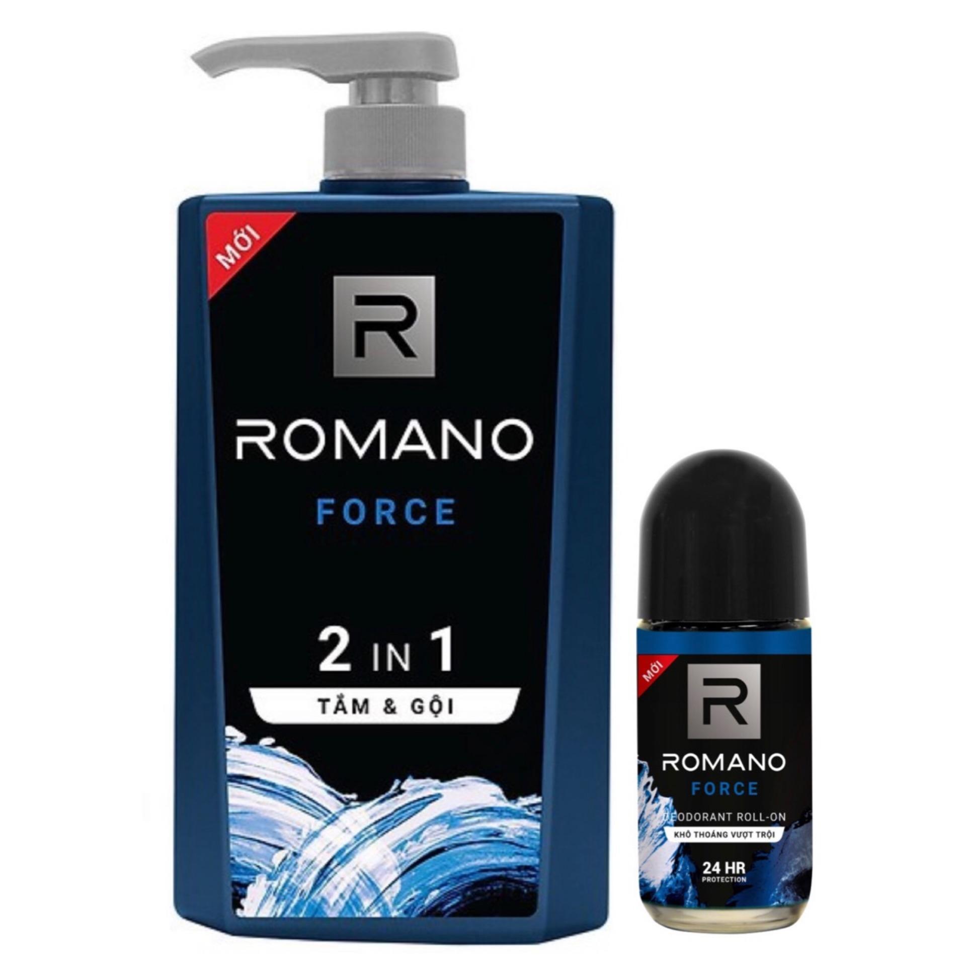 Dầu Tắm Gội 2in1 Romano Froce 650ml +Tặng Lăn Khử mùi 40ml nhập khẩu