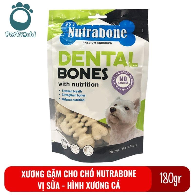 Xương cho chó vị sữa Nutrabone 180gr hình xương cá - Xương gặm sạch răng cho chó