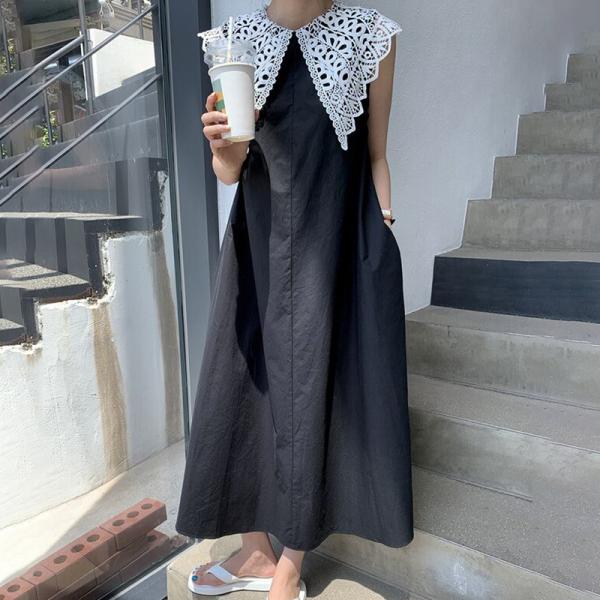 Hàn Quốc Chic Mùa Hè Thích Hợp Phong Cách Retro Xuyên Thấu Ren Ve Áo Dáng Suông Rộng Dáng Dài Qua Đầu Gối Không Tay Đầm Nữ