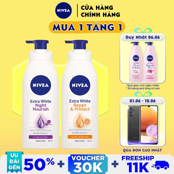 Bộ đôi Sữa Dưỡng Thể Dưỡng Trắng NIVEA Ban Ngày Giúp Phục Hồi & Chống Nắng SPF30 (350ml) - 88311 & Ban Đêm Săn da & Phục Hồi (400ml) – 88126 nhập khẩu