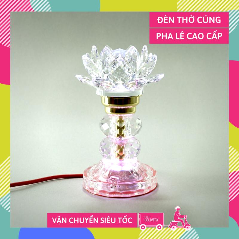Đèn thờ điện pha lê nguyên khối hoa sen đèn thờ Phật led đổi màu trụ tròn tầng cao cấp - Cao 17cm