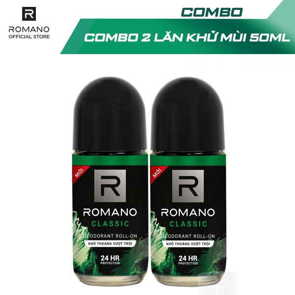 [Follow nhận voucher 10k cho đơn 99k] Combo 2 Lăn khử mùi Romano kháng khuẩn & khô thoáng cả ngày 50mlx2