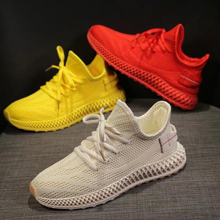Giày thể thao sneaker nữ full màu, đế thiết kế dạng tổ ong HAPLI (đỏ, kem, vàng) Nhật Bản