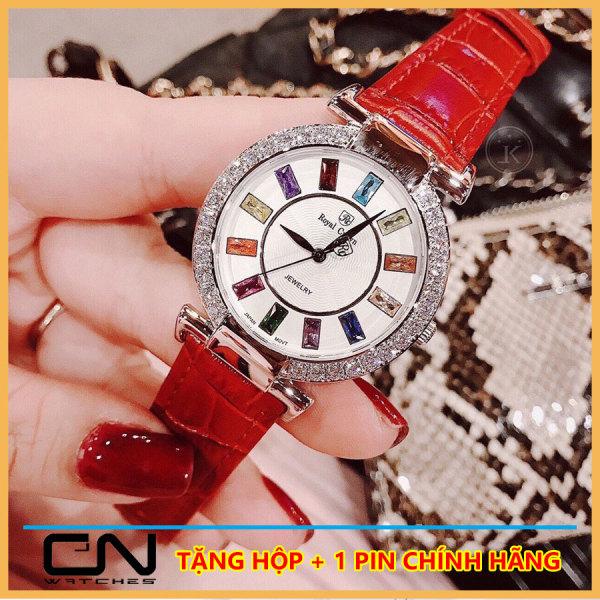 Đồng hồ nữ dây da ROYAL Đính Đá Ruby Cầu Vòng cực đẹp, Chống nước sinh hoạt, Đồng hồ nữ thời trang, Đồng hồ nữ đẹp, Đồng hồ nữ hàn quốc, Đồng hồ nữ giá rẻ, Đồng hồ nữ cao cấp