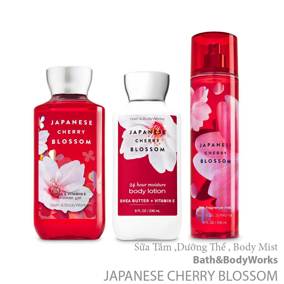 Bộ Sản Phẩm Dưỡng Da Hương Nước Hoa Bath & Body Works Japanese Cherry Blossom (3 món)