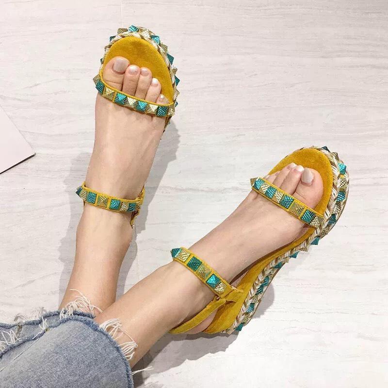 Giày sandal đế xuồng phối màu hàng đẹp fullbox - TT20