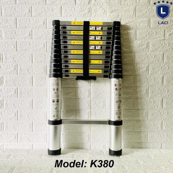 Thang Nhôm Rút Đơn Châu Âu KARLIS K380 Chiều Cao 3m8 Chịu tải trọng 150kg trên mỗi khóa