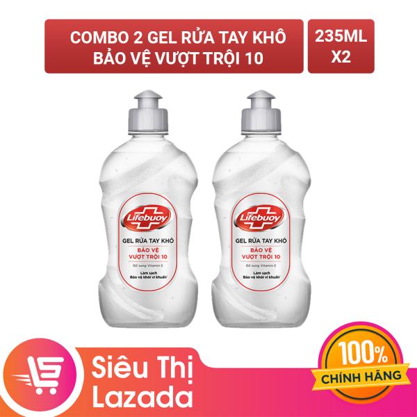 Combo 2 Gel rửa tay khô sạch siêu nhanh Lifebuoy Bảo Vệ Vượt Trội 10 (Chai nắp bạc 235ml)