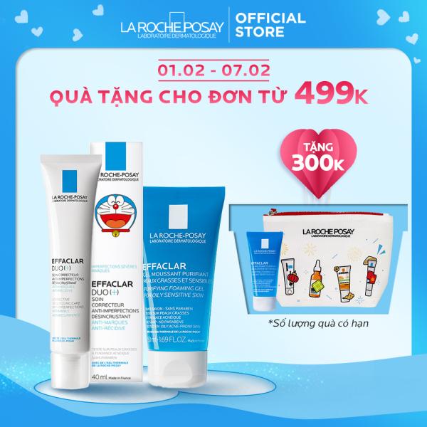 Bộ Kem dưỡng giảm mụn thông thoáng lỗ chân lông và ngừa thâm La Roche Posay Effaclar Duo+ 40ml phiên bản giới hạn Doraemon và Gel rửa mặt dành cho da dầu mụn Effaclar gel 50ml giá rẻ