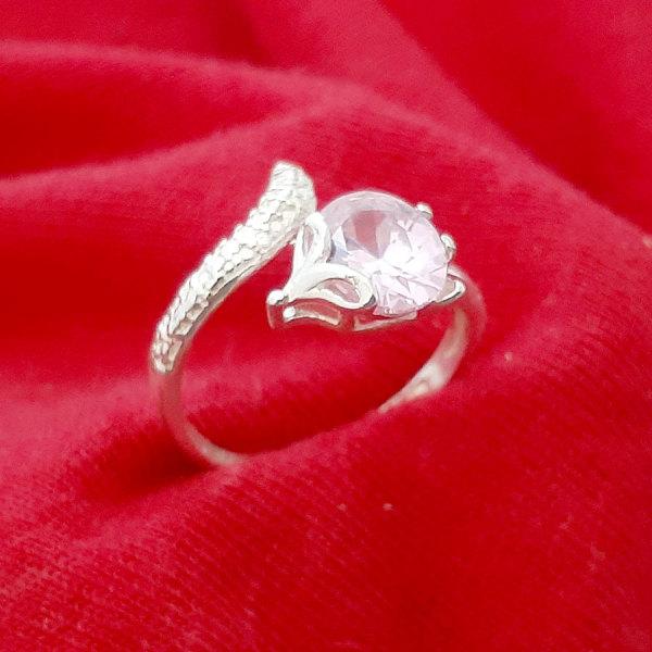 Nhẫn nữ  Hồ Ly Bạc Quang Thản, nhẫn Hồ Ly nữ free size chất liệu bạc ta không xi mạ có nhiều màu đá lựa chọn – QTNU58