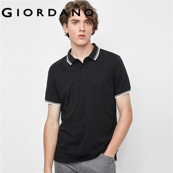 Áo PoLo cotton cổ bẻ tương phản trẻ trung họa tiết đơn giản khô nhanh GIORDANO 01010387 FREESHIP