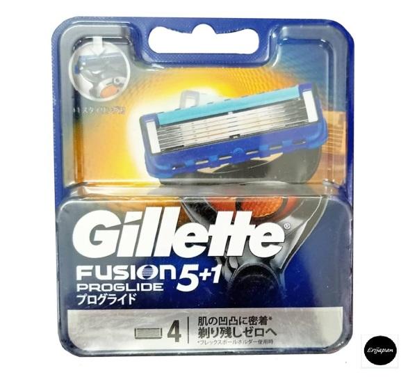 Nội địa Nhật - Vỉ 4 Lưỡi Dao Cạo Râu Gillette Fusion Proglide/Proshield (đầu cạo 5 lưỡi kép)