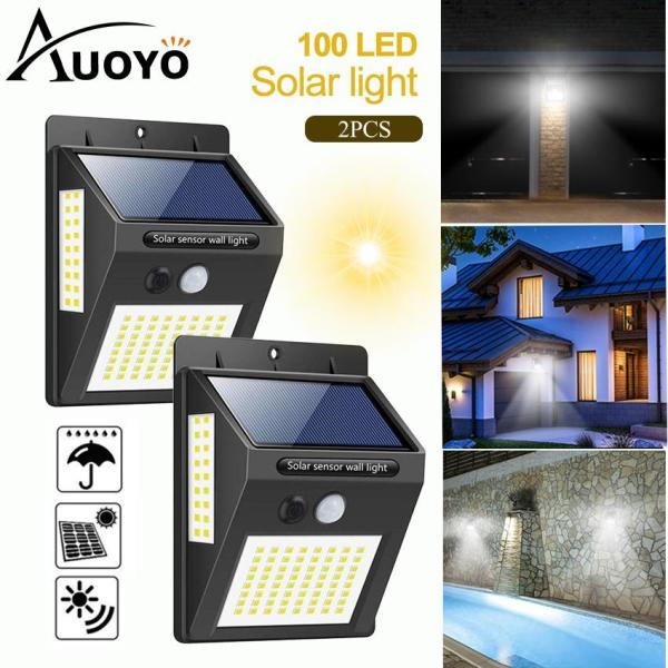 Auoyo 100 LED Solar Lamp PIR Motion Solar Light Outdoor Solar Lamp PIR Motion Sensor Wandlamp Deck Lighting Wireless Security Waterproof IP65 Lights with 270°Wide Angle Illumination Light for Wall Yard Garden